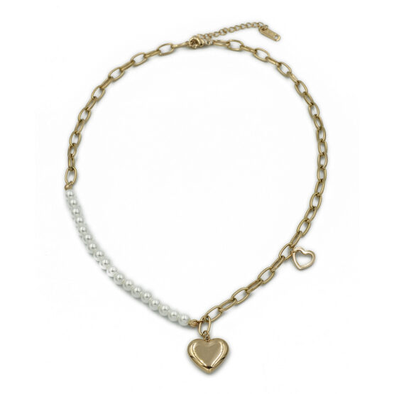 gynaikeio kolie me kardia kai perles apo atsali